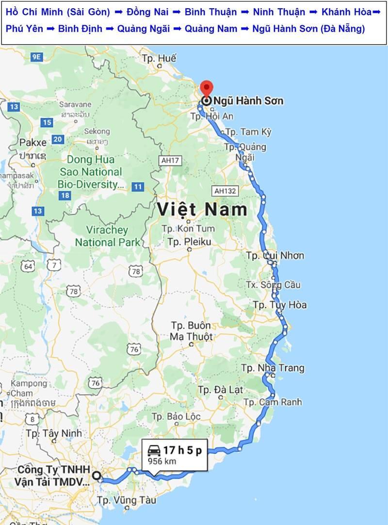 Lộ trình vận chuyển hàng đi Sơn Trà Đà Nẵng từ TPHCM