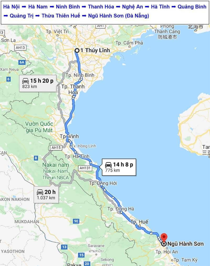 Lộ trình vận chuyển hàng hóa từ Hà Nội - Ngũ Hành Sơn, Đà Nẵng của Vận Tải Phượng Hoàng