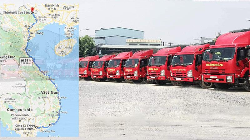 Lộ trình vận chuyển hàng hóa từ TPHCM đi Cao Bằng của Vận Tải Phượng Hoàng
