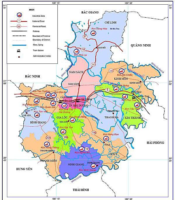 Bản đồ hành chính các huyện, thành phố, thị xã thuộc Hải Dương