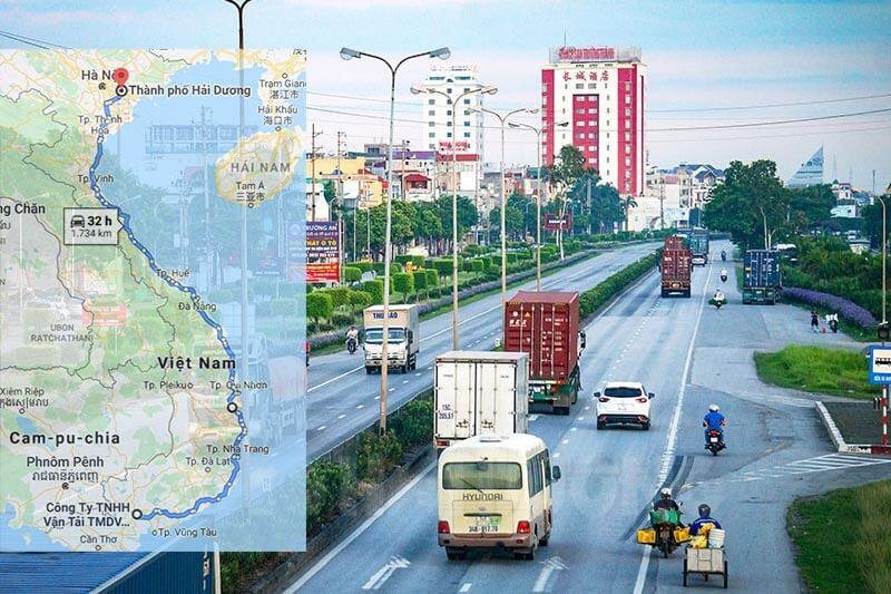 Lộ trình vận chuyển hàng từ TPHCM đi Hải Dương