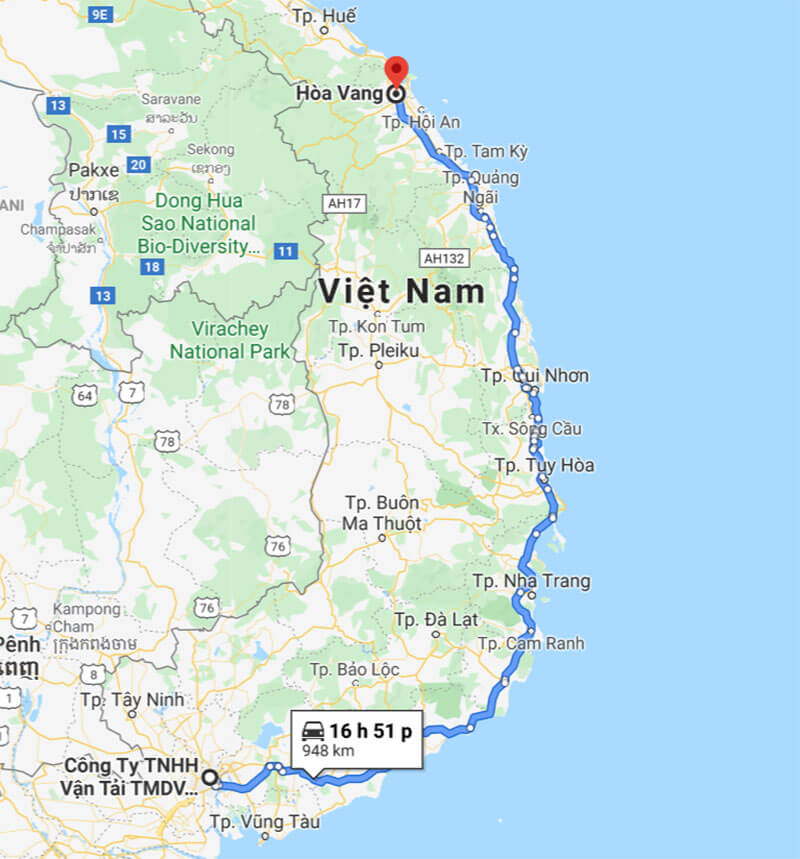 Lộ trình vận chuyển dọc theo Quốc lộ 1A từ TPHCM đi Hòa Vang, Đà Nẵng