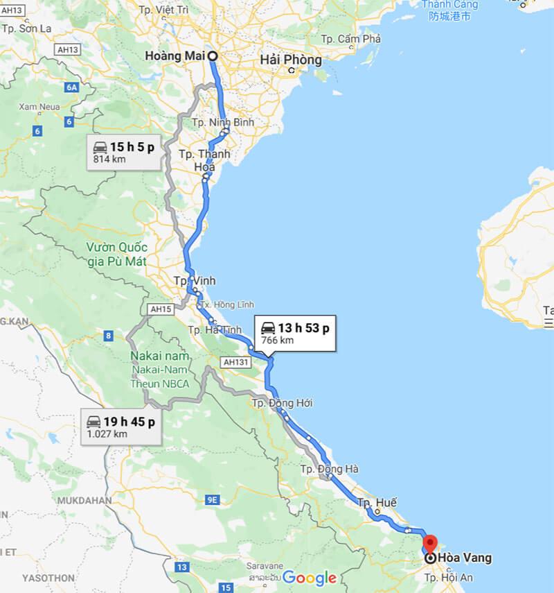 Lộ trình vận chuyển hàng đi Hòa Vang Đà Nẵng từ Hà Nội theo tuyến QL1A