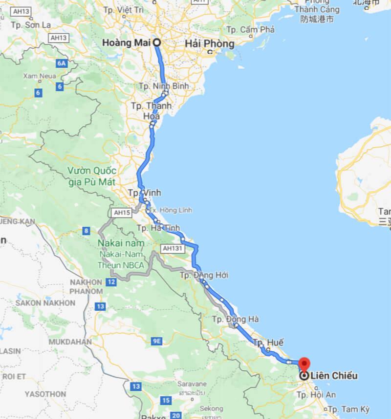 Lộ trình xe vận chuyển hàng từ Hà Nội đi Liên Chiểu Đà Nẵng của Phượng Hoàng