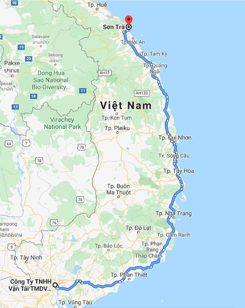 Lộ trình vận chuyển hàng từ TPHCM đi quận Liên Chiểu, Đà Nẵng dọc theo tuyến QL1A