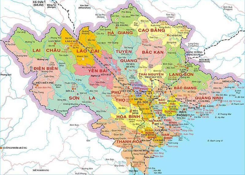 Bản đồ các tỉnh miền Bắc