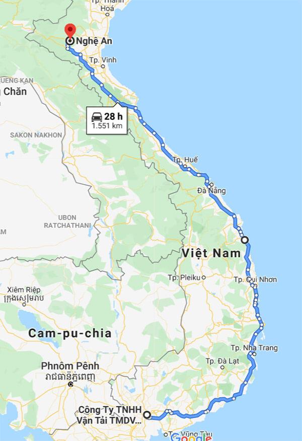 Lộ trình vận chuyển hàng đi các tỉnh duyên hải miền Trung và Bắc Trung Bộ