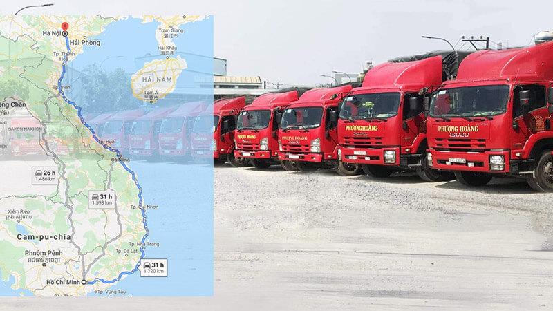 Lộ trình vận chuyển hàng từ Hà Nội đi TPHCM