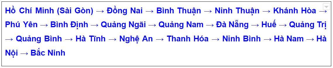 Lộ trình vận chuyển hàng đi Bắc Ninh từ TPHCM theo QL1A