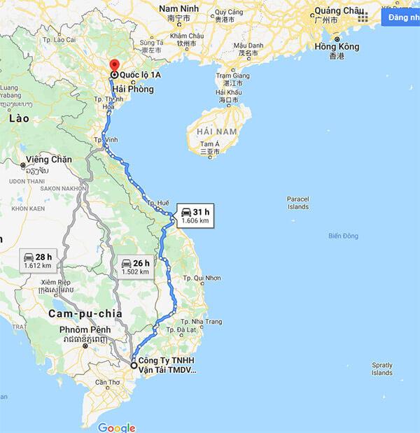 Lộ trình vận chuyển hàng từ TPHCM đi Bắc Ninh theo QL1A