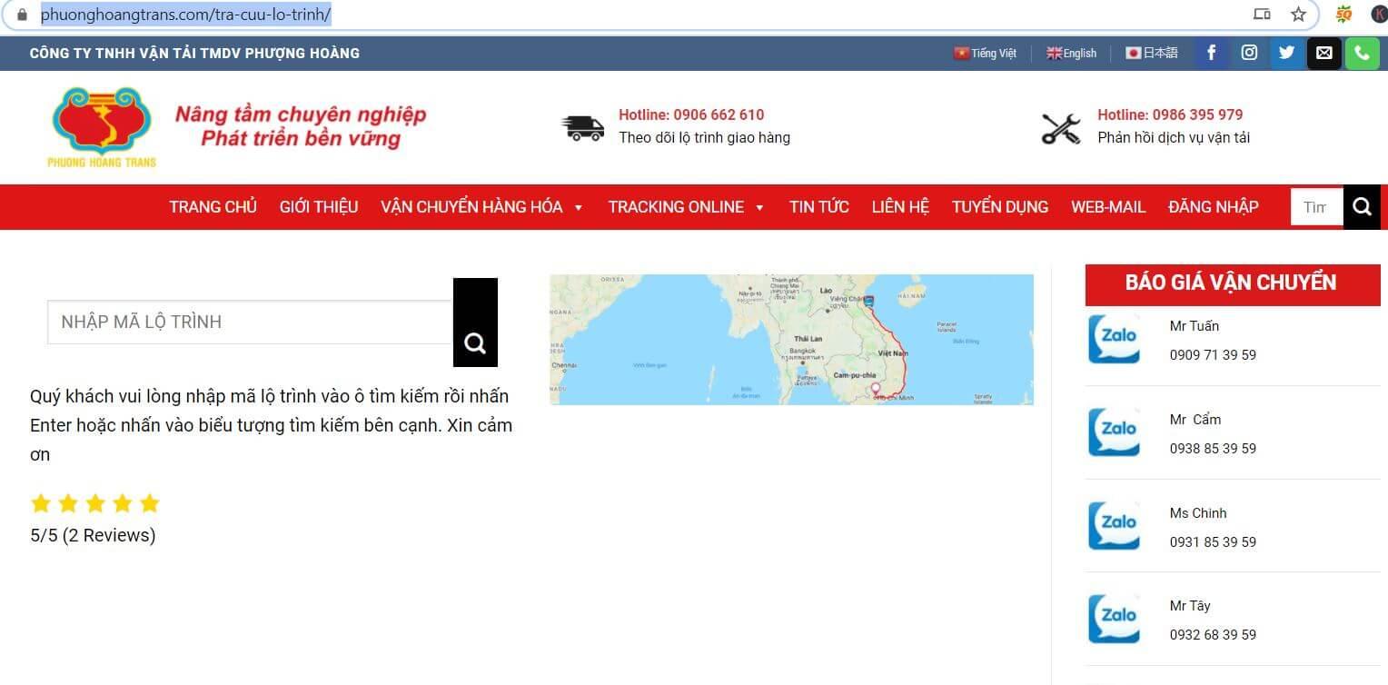 tra cứu vận đơn trên website Phượng Hoàng